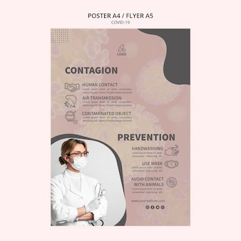 Doctor with mask and gloves coronavirus flyer template