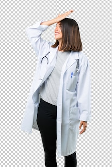 Doctor woman with stethoscope has just realized something and has intending the solution