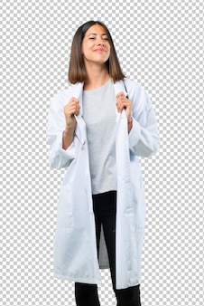 Doctor woman with stethoscope proud and self-satisfied in love yourself concept