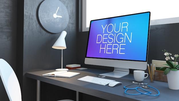 의사 데스크탑 치과 클리닉 웹 사이트 모형 3d 렌더링