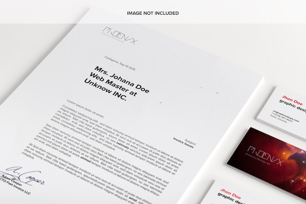 Document and business cards mockup