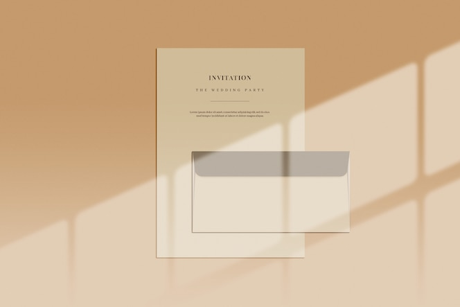 Document and envelope with window shadow