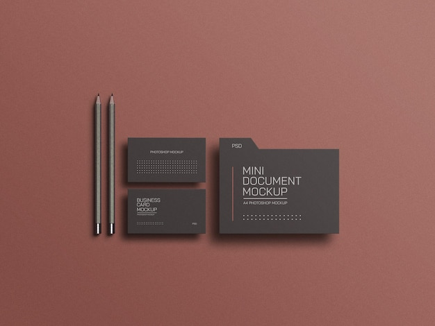 Document file with business card mockup
