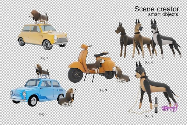 Изолированная иллюстрация деятельности собаки 3d