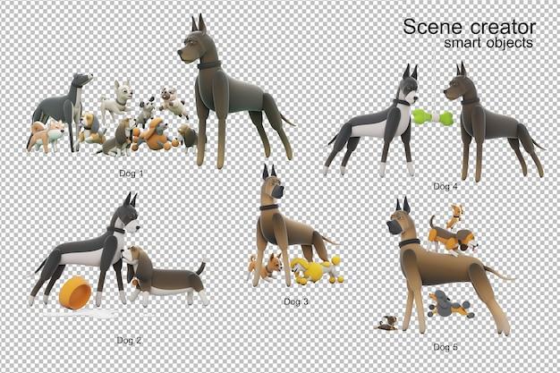 分離された犬の活動3dイラスト