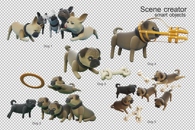 Dog activity 3d illustration isolated