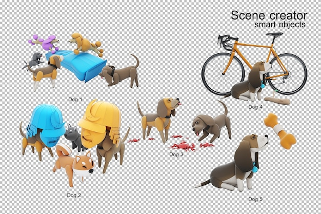 Dog activity 3d illustration isolated