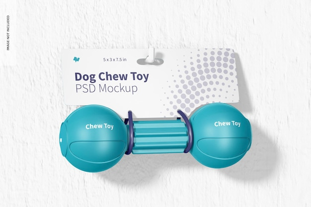Dog barbell chew toy packaging mockup, hanging on wall