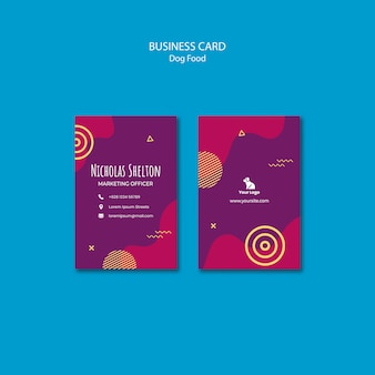 Dog food vertical business card template