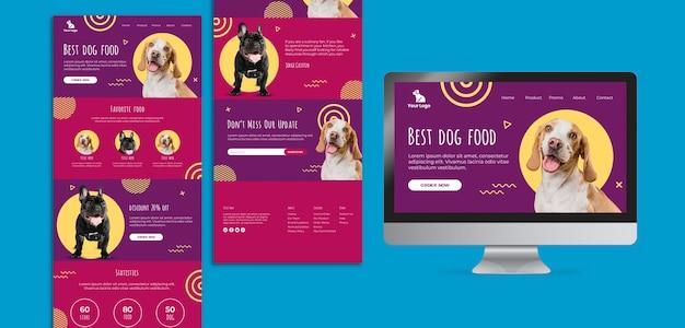 Sito web di cibo per cani e modello di interfaccia app