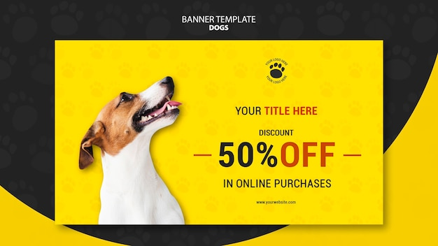 Dog online purchases banner template