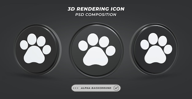 Dog paw icon in 3d rendering