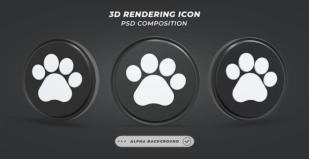 Значок лапы собаки в 3d-рендеринге