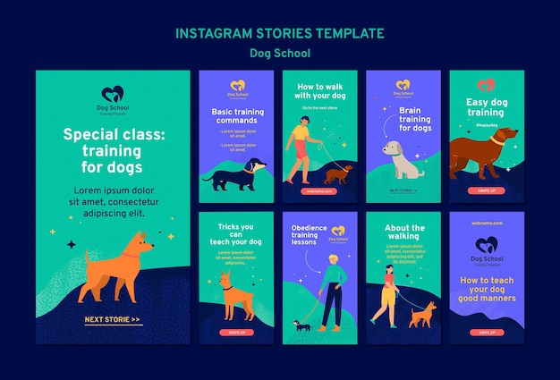 Dog school concept instagram stories template