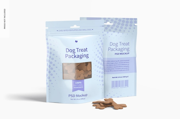 Мокап упаковки лакомства для собак, вид спереди и сзади