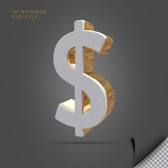 Доллар 3d визуализации камень с золотым