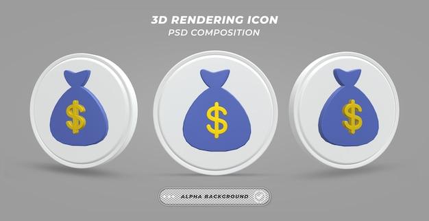 Иконка доллар мешок в 3d-рендеринге