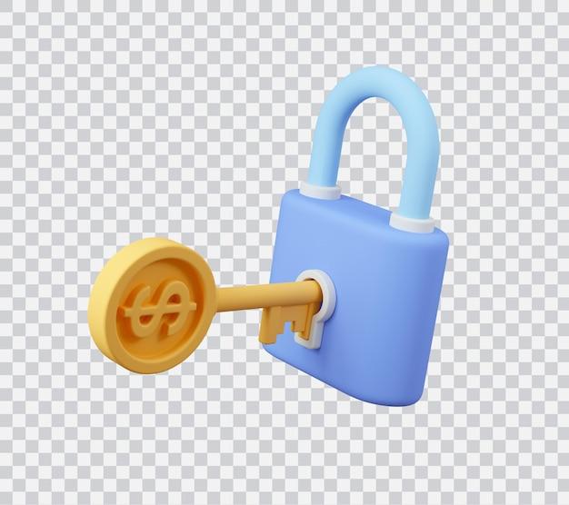 Ключ монеты доллар открывает замок концепция безопасного доступа 3d визуализированная иллюстрация