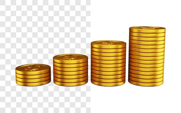 달러 동전 더미 3d 그림 개념