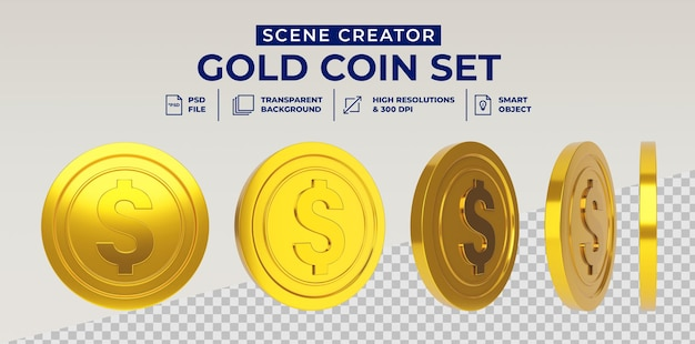 Dollar gold coin set in 3d rendering isolated