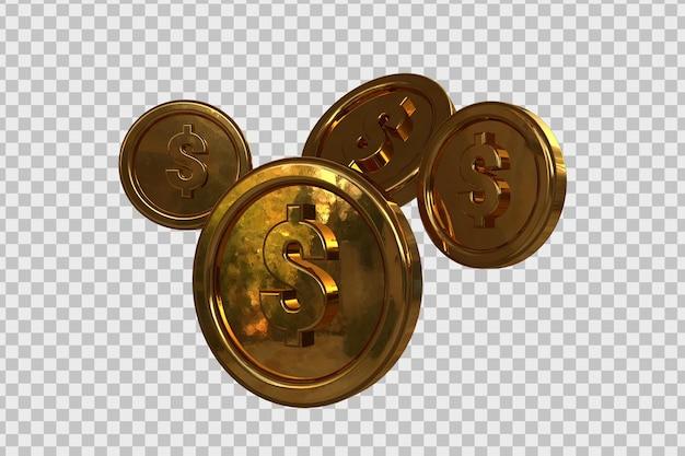 分離された3dレンダリングで設定されたドルの金貨