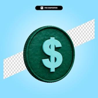 Знак доллара 3d визуализации изолированных иллюстрация