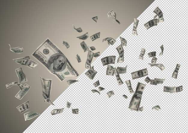 Dollars money rain - hundreds of 100 dollars falling from the top