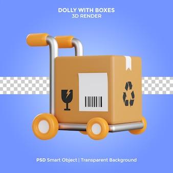 Тележка с коробками 3d визуализация иллюстрации изолированные премиум psd