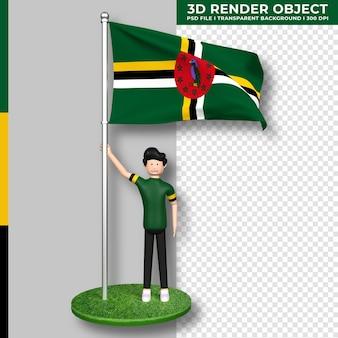 かわいい人の漫画のキャラクターとドミニカ国の国旗。独立記念日。 3dレンダリング。