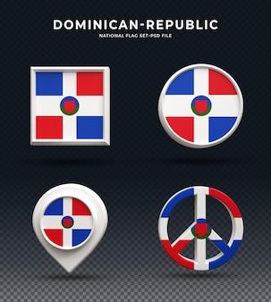 Кнопка купола 3d рендеринга флаг доминиканской республики и на глянцевой основе