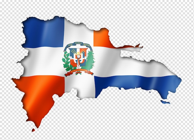 Dominican republic flag map, three dimensional render, isolated on white