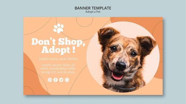 쇼핑하지 말고 애완 동물 배너 템플릿을 채택하십시오.