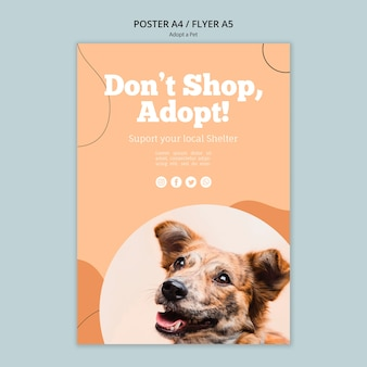 쇼핑하지 말고 애완 동물 포스터 템플릿을 채택하십시오.