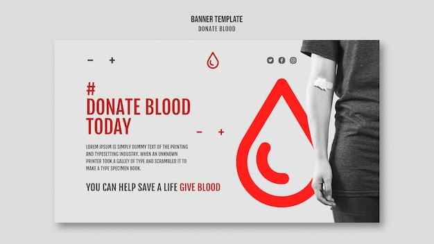 Donate blood campaign banner design