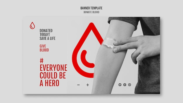 Donate blood campaign horizontal banner