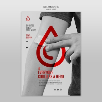 Donate blood concept flyer template