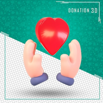 Donation 3d hands saving heart with 3d rendering