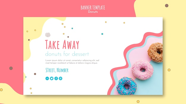 Donut concept banner template