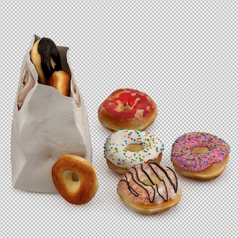 Donuts 3d isolated render