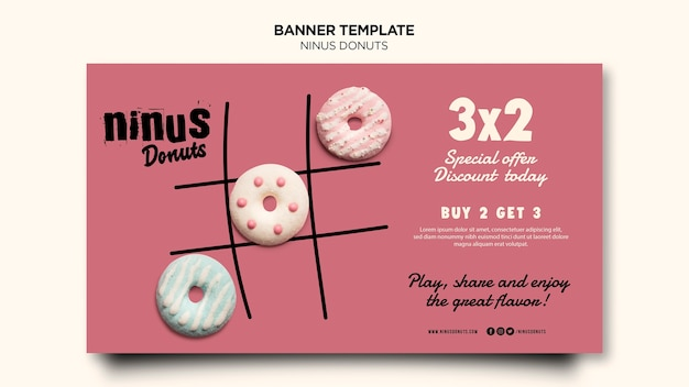 Шаблон баннера концепции пончики