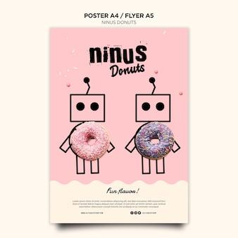Шаблон плаката концепции пончики