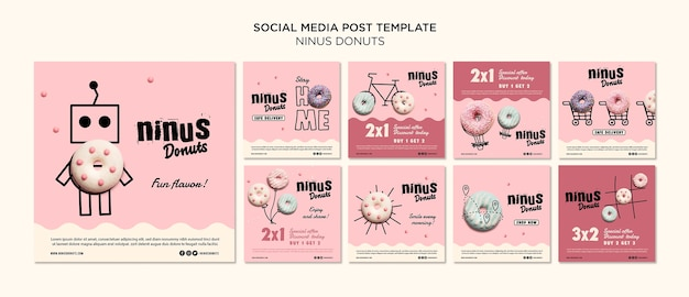 Donuts concept social media post template