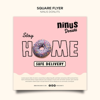 Donuts concept square flyer template