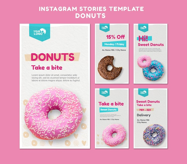 Donuts store instagram stories template