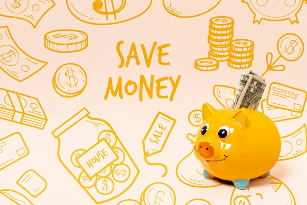Doodle background with piggy bank and money Free Psd