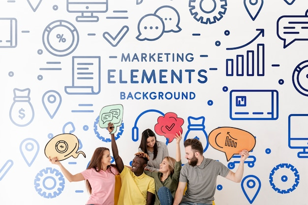 Doodle marketing elements with people holding ideas
