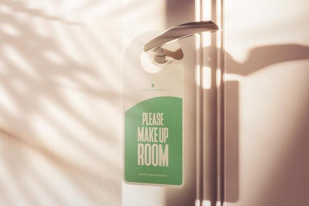 Door hanger with hard shadow scene mockup Premium Psd