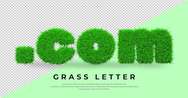 Dot com письмо в 3d траве изолированные
