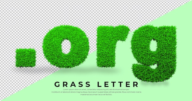 Dot  org letter in grass isolated domain grass