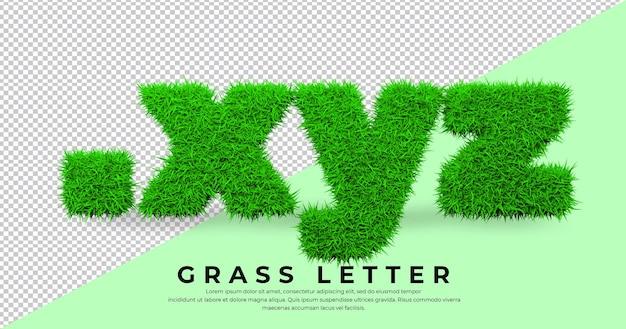 고립 된 3d 잔디에 도트 xyz 편지